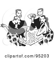 Royalty Free RF Clipart Illustration Of A Black And White Group Of Retro Adults Playing Poker by BestVector