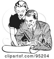 Royalty Free RF Clipart Illustration Of A Black And White Retro Woman Leaning Over A Man And Discussing Plans
