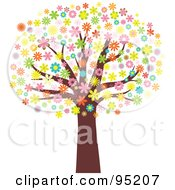 Royalty Free RF Clipart Illustration Of A Mature Tree With An Umbrella Of Blossoming Flowers