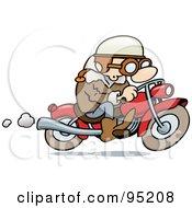 Toon Guy Biker Riding His Motorcycle