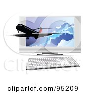 Royalty Free RF Clipart Illustration Of A Commercial Plane Emerging From A Computer Screen by leonid