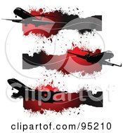 Royalty Free RF Clipart Illustration Of A Digital Collage Of Site Headers Of Silhouetted Commercial Planes Over Grungy Red Splatters by leonid