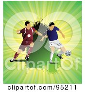 Royalty Free RF Clipart Illustration Of Two Soccer Athletes 2 by leonid