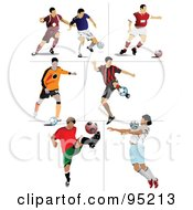 Digital Collage Of 7 Soccer Athletes by leonid