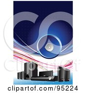 Royalty Free RF Clipart Illustration Of A Group Of Sound System Speakers On Blue