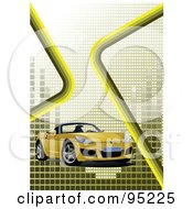 Royalty Free RF Clipart Illustration Of A Yellow Convertible Car Background 8 by leonid