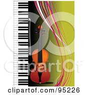 Royalty Free RF Clipart Illustration Of A Violin By A Piano On Green With Colorful Waves