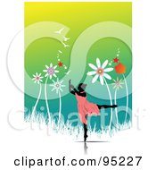 Royalty Free RF Clipart Illustration Of A Graceful Female Dancer With Giant Flowers by leonid