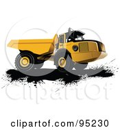 Royalty Free RF Clipart Illustration Of An Industrial Dump Truck Over Black Splatters by leonid