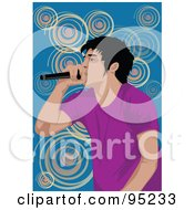 Royalty Free RF Clipart Illustration Of A Performing Male Singer 24