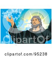 Royalty Free RF Clipart Illustration Of Jesus Holding His Arms Open 2 by mayawizard101