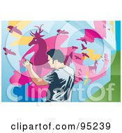 Royalty Free RF Clipart Illustration Of A Mural Painter 2