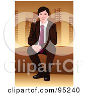 Royalty Free RF Clipart Illustration Of A Corporate Business Man Sitting On A Wall 1