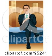 Royalty Free RF Clipart Illustration Of A Corporate Business Man Sitting On A Wall 2
