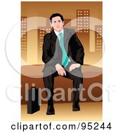 Royalty Free RF Clipart Illustration Of A Corporate Business Man Sitting On A Wall 3