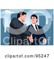 Royalty Free RF Clipart Illustration Of Two Businessmen Walking And Shaking Hands