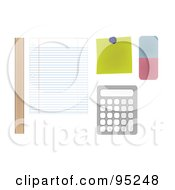 Royalty Free RF Clipart Illustration Of A Digital Collage Of A Ruler Sheet Of Ruled Paper Note Eraser And Calculator On A Students Desk by JR