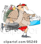 Royalty Free RF Clipart Illustration Of A Middle Aged Caucasian Man Carrying A Portable BBQ And Picnic Gear
