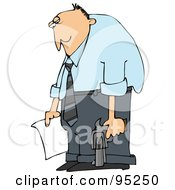 Royalty Free RF Clipart Illustration Of A Depressed Middle Aged Caucasian Man Holding A Suicide Letter And Gun by djart