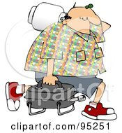 Royalty Free RF Clipart Illustration Of A Middle Aged Caucasian Man Carrying A Portable Gas BBQ