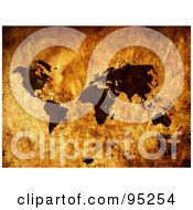 Royalty Free RF Clipart Illustration Of A Grungy Vintage Map Of Dark Continents Over Brown by MacX