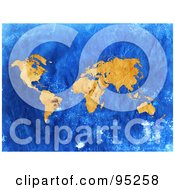 Royalty Free RF Clipart Illustration Of A Grungy Vintage Map Of Orange Continents Over Blue
