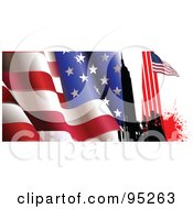 Royalty Free RF Clipart Illustration Of A Wavy American Flag With New York Buildings And A Flag by leonid