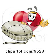 Clipart Picture Of A Love Heart Mascot Cartoon Character With A Computer Mouse by Toons4Biz