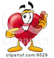 Clipart Picture Of A Love Heart Mascot Cartoon Character Holding A Telephone by Toons4Biz