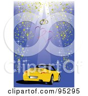Royalty Free RF Clipart Illustration Of A Yellow Convertible Car Background 3 by leonid