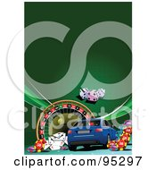 Royalty Free RF Clipart Illustration Of A Blue Car Background 4