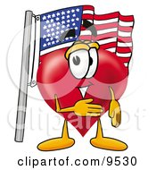 Clipart Picture Of A Love Heart Mascot Cartoon Character Pledging Allegiance To An American Flag