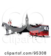 Royalty Free RF Clipart Illustration Of A London Guard Big Ben And Red City Bus by leonid