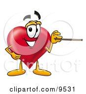 Love Heart Mascot Cartoon Character Holding A Pointer Stick