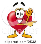 Clipart Picture Of A Love Heart Mascot Cartoon Character Waving Hello While Pointing To The Side