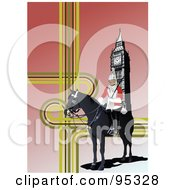 Royalty Free RF Clipart Illustration Of A London Guard Near Big Ben by leonid