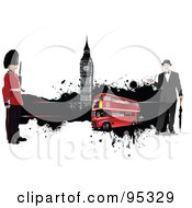 Royalty Free RF Clipart Illustration Of A Double Decker With A Guard Gentleman And Big Ben With Black Grunge by leonid