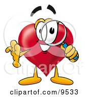 Clipart Picture Of A Love Heart Mascot Cartoon Character Looking Through A Magnifying Glass