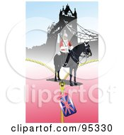 Royalty Free RF Clipart Illustration Of A London Guard Near The Tower Bridge by leonid