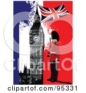 Royalty Free RF Clipart Illustration Of A Guard With Big Ben Over A Grungy Blue White And Red Background by leonid