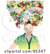 Royalty Free RF Clipart Illustration Of A Smiling Woman With Flowers On Her Head 1