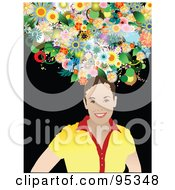 Royalty Free RF Clipart Illustration Of A Smiling Woman With Flowers On Her Head 2