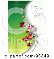 Royalty Free RF Clipart Illustration Of A Congratulations Engagement Background With Hearts Rings And Flowers