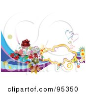 Royalty Free RF Clipart Illustration Of A Background Of Flowers Waves And A Text Cloud With Wedding Rings On White