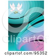Royalty Free RF Clipart Illustration Of A Turquoise And Pink Engagement Background With Hearts Doves And Wedding Rings