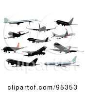 Royalty Free RF Clipart Illustration Of A Digital Collage Of 11 Airliners