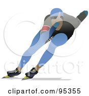 Royalty Free RF Clipart Illustration Of A Pro Speed Skater 2 by leonid