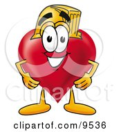 Clipart Picture Of A Love Heart Mascot Cartoon Character Wearing A Helmet by Toons4Biz