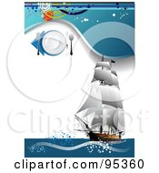 Royalty Free RF Clipart Illustration Of A Seafood Menu Template With A Tall Ship With Grungy Blue