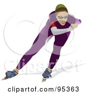 Royalty Free RF Clipart Illustration Of A Pro Speed Skater 1 by leonid